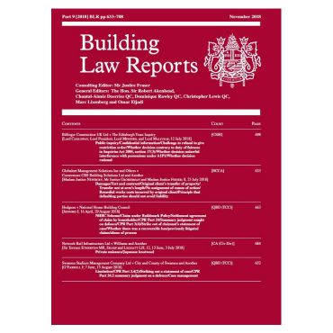 Building Law Reports Nov 2018 cover visual